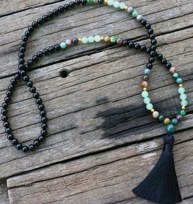 8mm Natural Stone Black Onyx Indian Agate Aventurine JapaMala Yoga Necklace Spiritual Jewelry Meditation 108