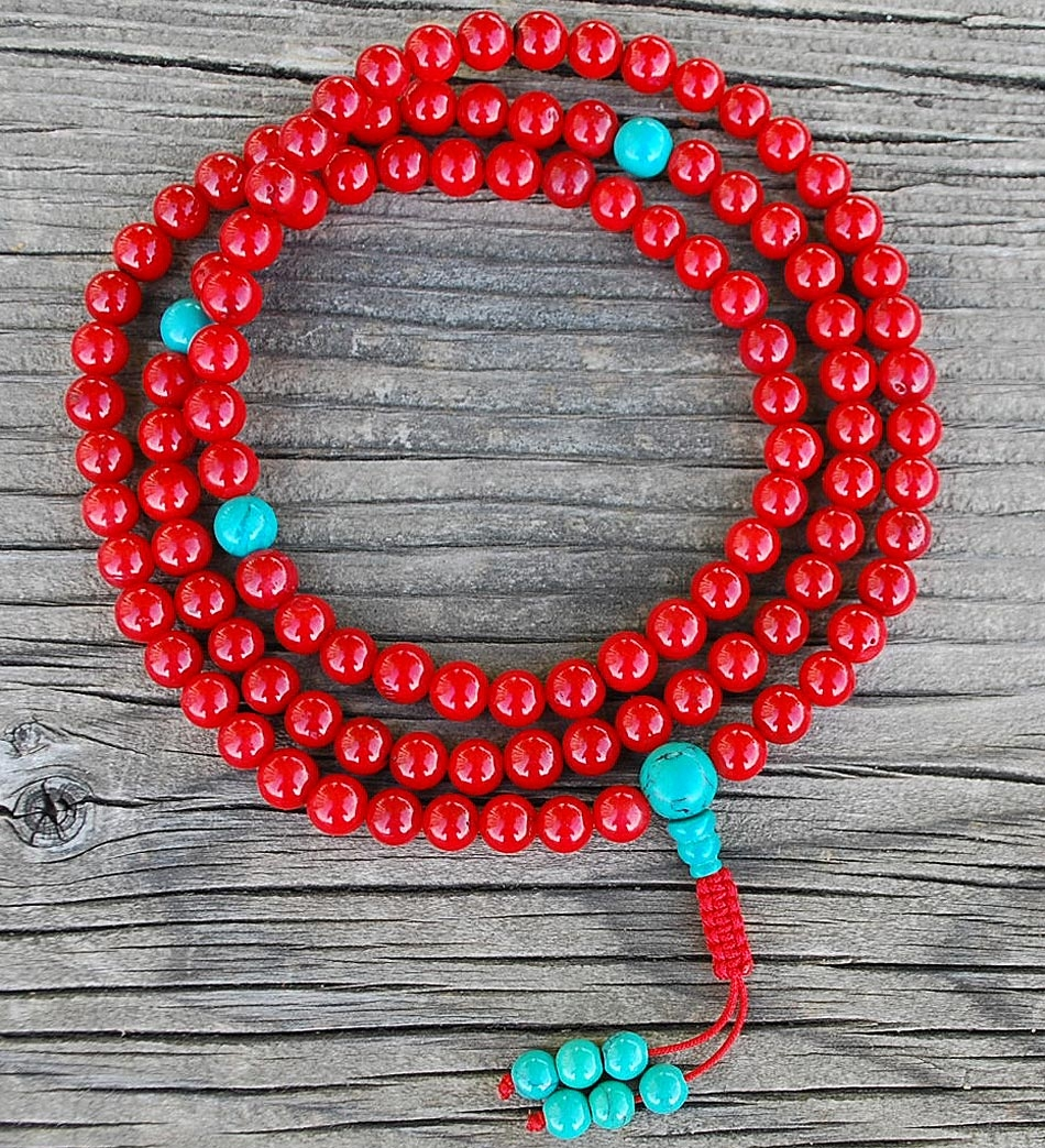 Coral & Turquoise Mala Beads
