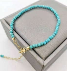 Faceted Turquoise Bracelet Dainty Adjustable 14K Gold Filled Chains Natural Stones Pulsera Mujer Unique Women Bohemian