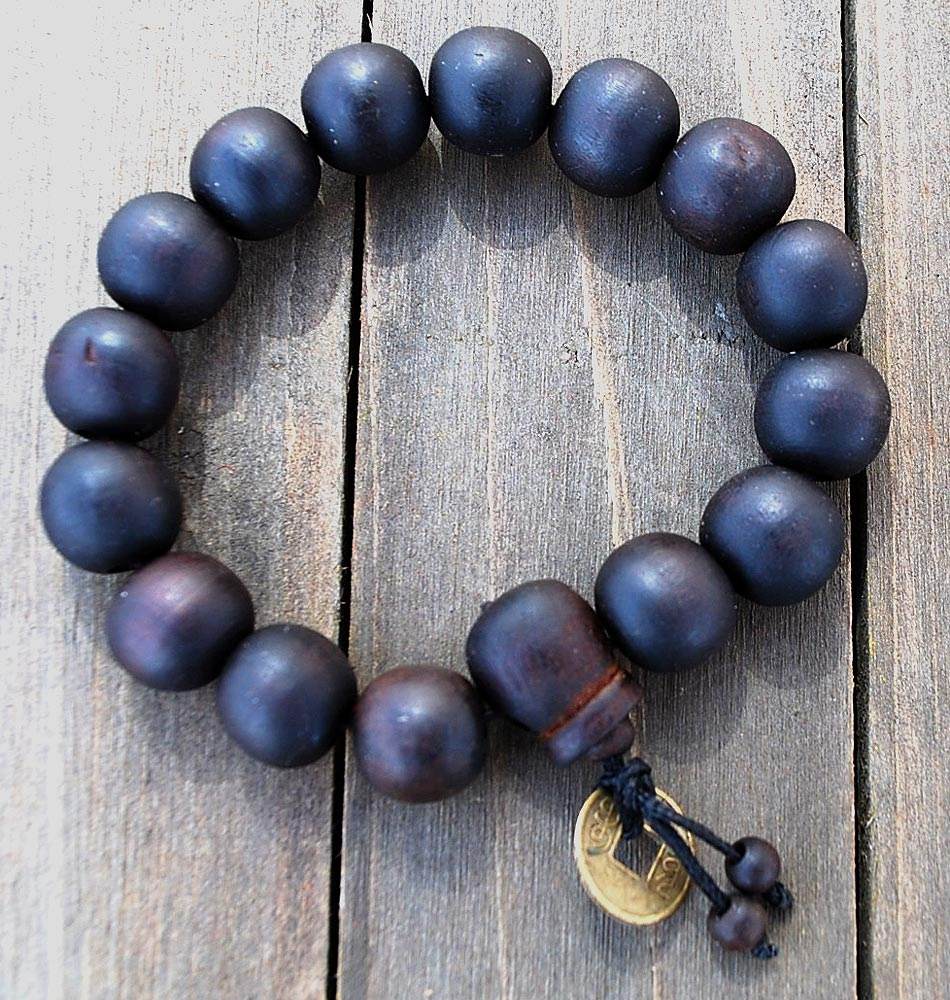 Luck Coin Wood Mala