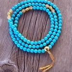 Turquoise Gold Mala Necklace