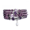 Mini Mala- Purple & Silver