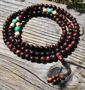 8mm Rosewood with Genuine Turquoise
