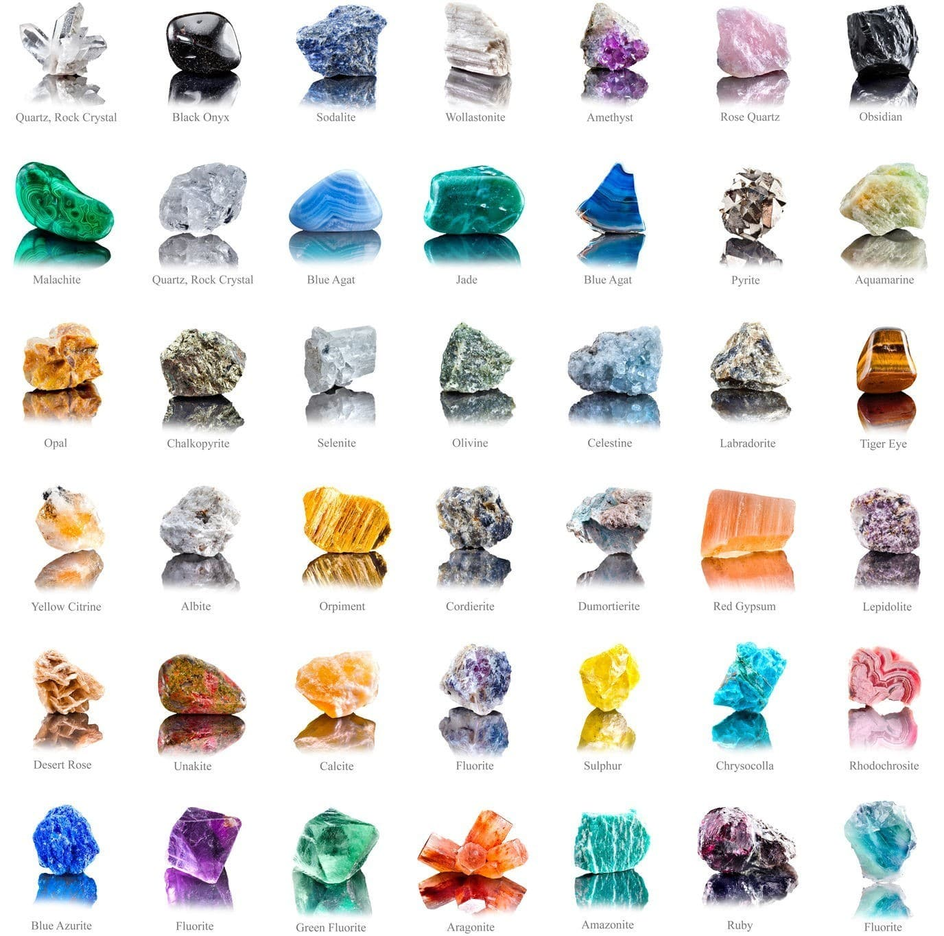 collection set of semi-precious gemstones