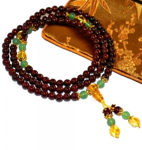 Mini Mala Garnet, Jade & Gold