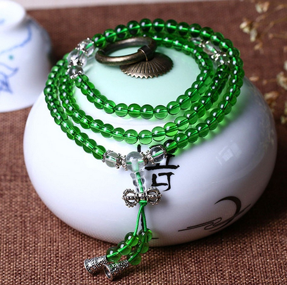 Mini Mala- Peridot Glass