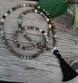 Green Opal, Cracked Quartz and Onyx Mala