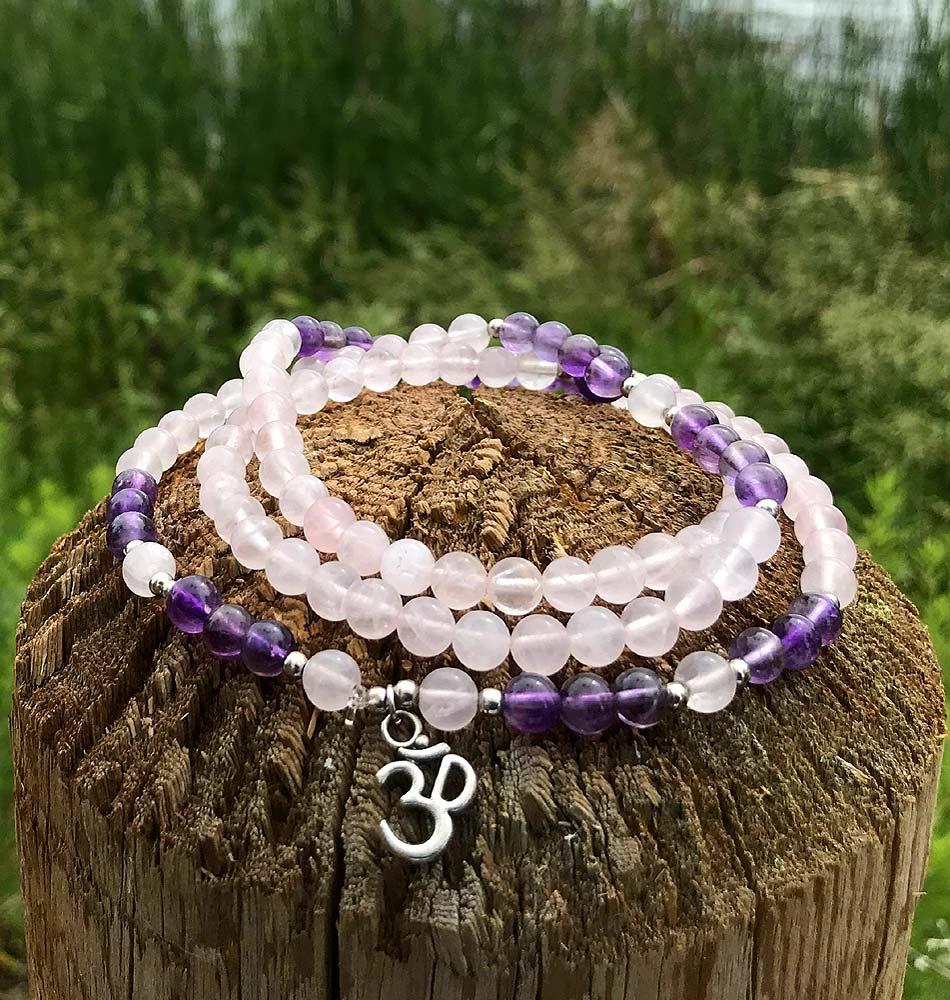 om Mini Mala Rose Quartz