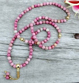 Rhodonite & Gold Mala