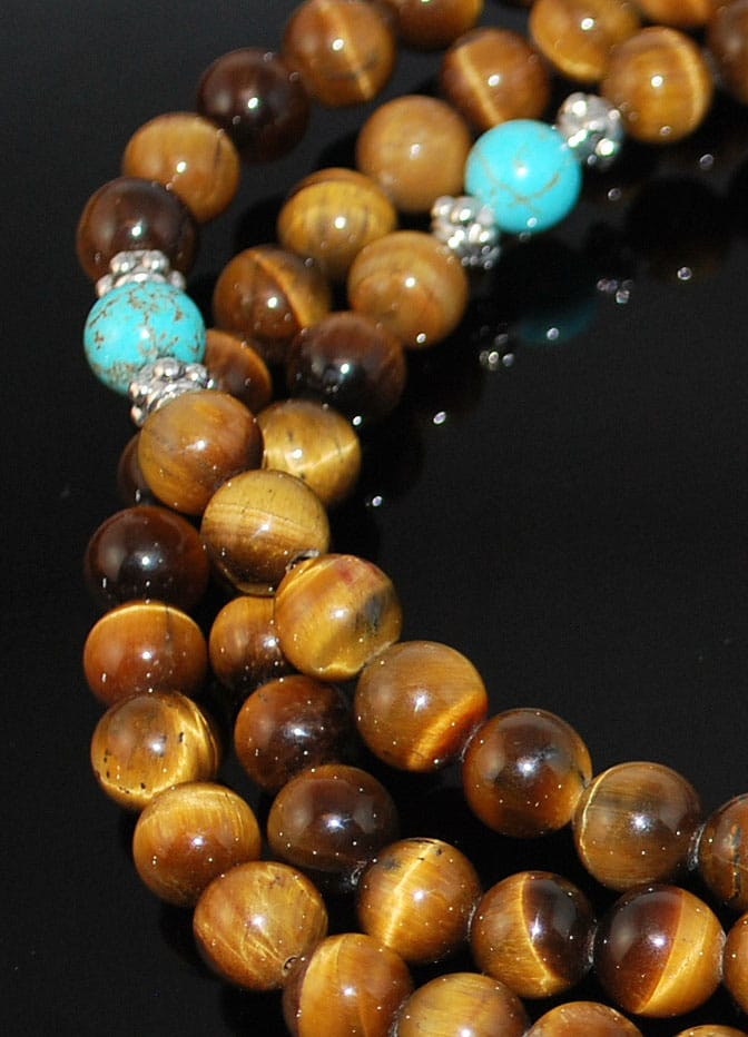Tigers Eye & Gold Mala
