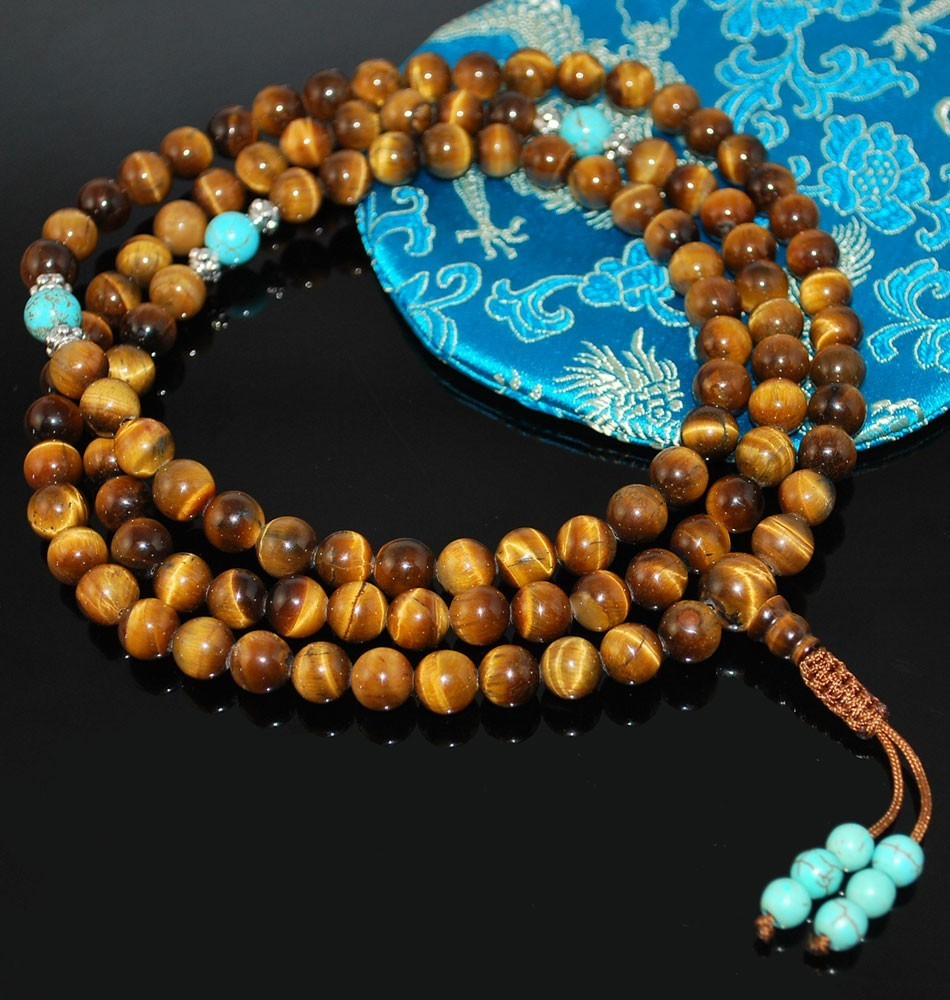 Tigers Eye & Turquoise Mala Prayer Beads