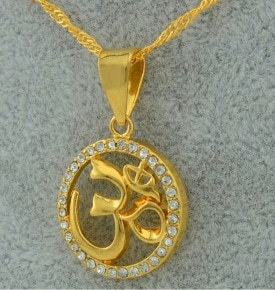 gold om pendant large