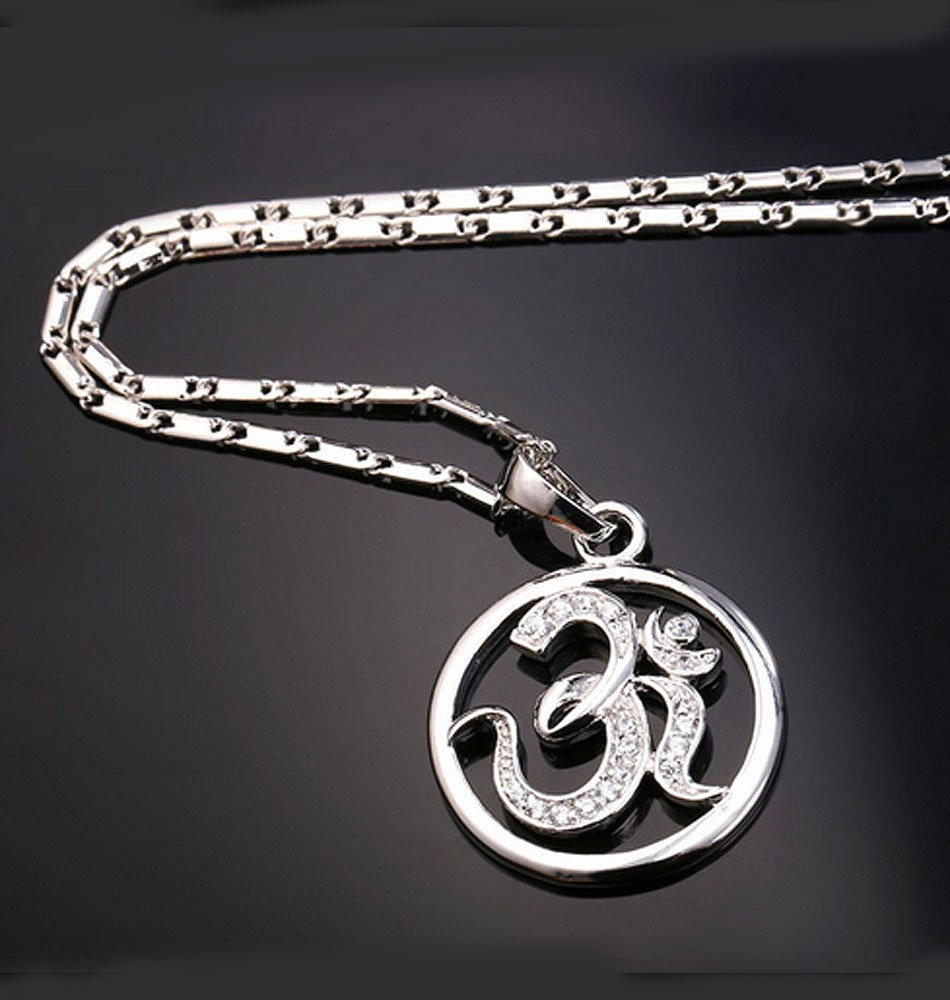 Silver Om Pendant Large