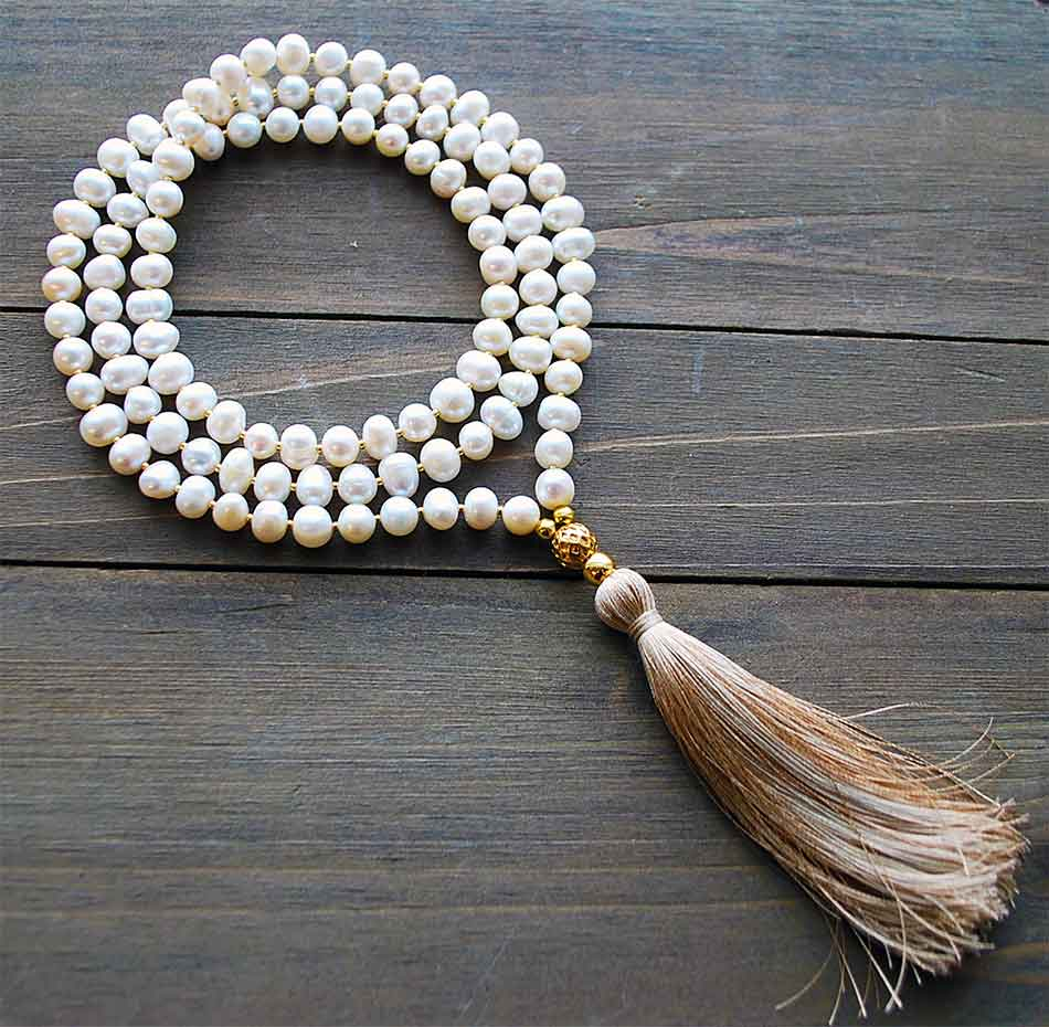 pearl gold yoga beads