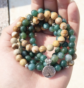 Moss Agate Stretch Mala