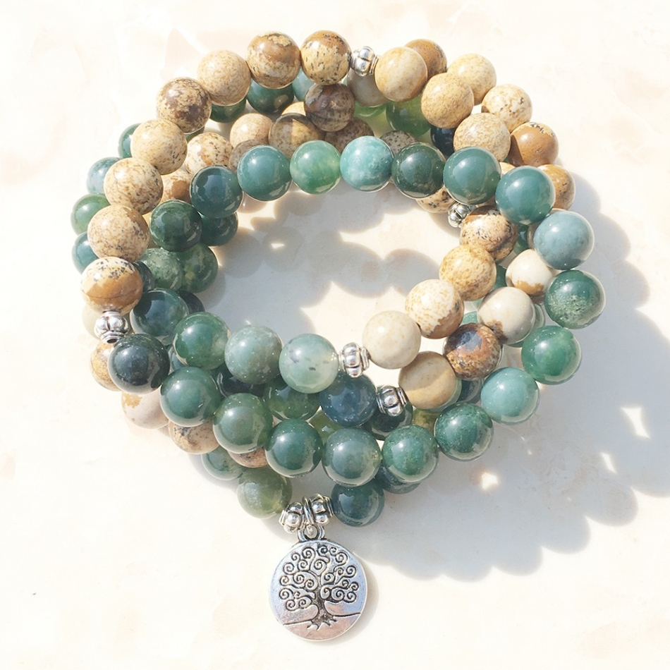 Jasper Tree of Life Stretch Mala